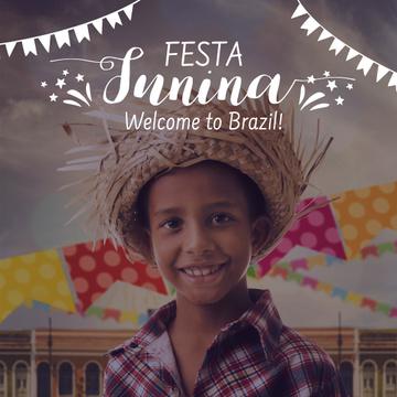 Festa Junina with Smiling Brazilian Kid