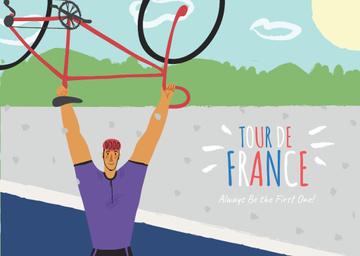 Tour de France with Man holding Bike