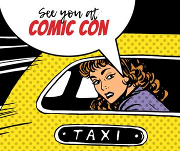 Comic Con invitation Woman in taxi