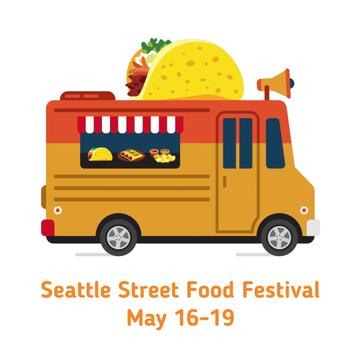 Van delivering street Food