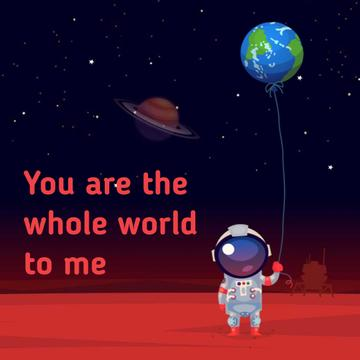 Astronaut holding Earth balloon