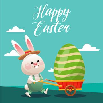 Easter Promotion with Bunny Carrying Coloured Egg