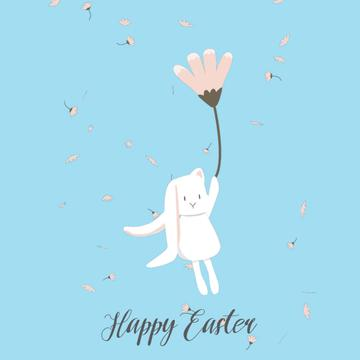 Easter Bunny flying on a flower