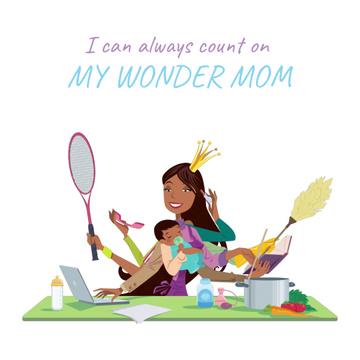 Multitasking wonder mom with baby
