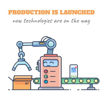 New technologies icons on production line