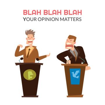 Two men debating by tribunes