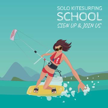 Active woman kiteboarding