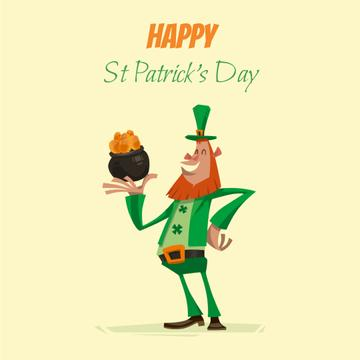 Saint Patrick's leprechaun with coins