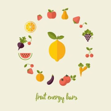 Circle frame of rotating fruits and vegetables