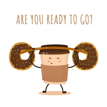 Coffee cup character lifting donuts