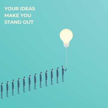 Businessman flying from queue on light bulb