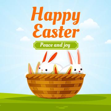 Easter bunnies in basket