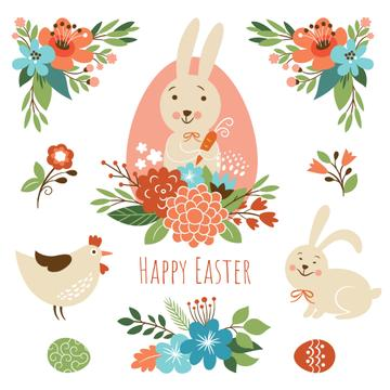 Cartoon Easter bunny with chicken and flowers