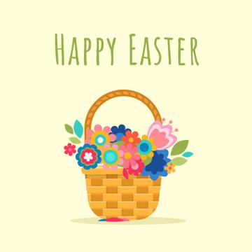 Blooming flowers in basket on Easter