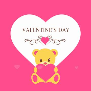 Pink Valentine's Card with Teddy Bear