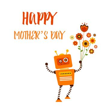Funny robot with flowers bouquet on Mothers Day