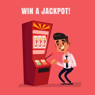 Man winning on slot machine