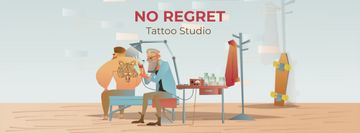 Tattoo Studio Ad with Man Getting Tiger Tattoo