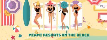 Beach Resort Theme Women Sunbathing