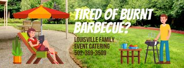 Barbecue Invitation with Man by Grill