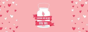 Valentine's Day Card with Pink Candle in Glass Bank