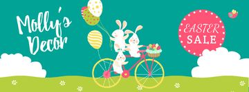 Easter Greeting with Bunnies and Colored Eggs