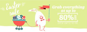 Easter Promotion Bunny Carrying Colored Eggs
