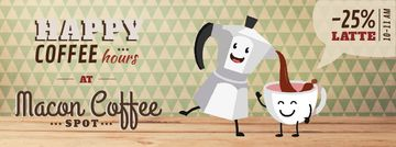 Coffee Shop Promotion Moka Pot and Cup