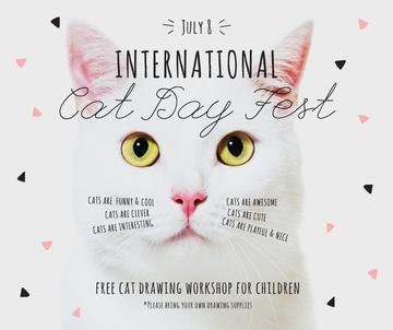 International Cat Day Fest with White Kitty