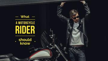 Handsome young man in leather jacket near motorcycle