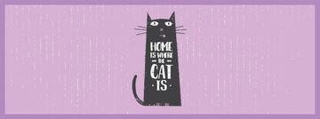 Funny Black Cat Purple Background