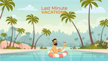 Vacation Theme Man with Cocktail Resting in Lifesaver