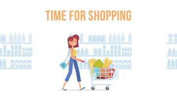 Groceries Shop Ad Woman Pushing Shopping Cart