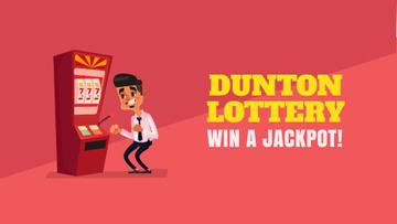 Lottery Promotion Man Winning on Slot Machine