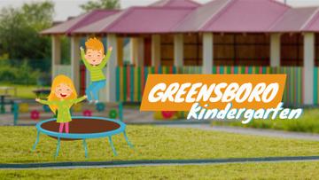 Kindergarten Ad Children Jumping on Trampoline