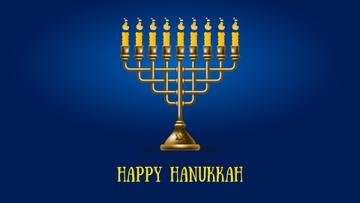 Happy Hanukkah Menorah on Blue