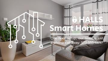 Smart Home Digital Icon on House Network