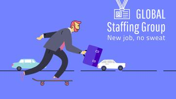 Staffing Agency Ad Businessman Riding Skateboard to Work