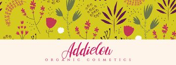 Organic Cosmetics ad with Flower doodles on yellow