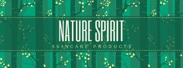 Skincare Products ad Trees in green forest