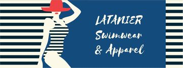 Woman in striped swimsuit