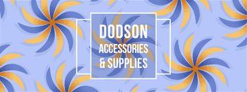 store Ad on Blue kaleidoscope pattern