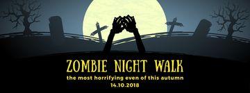 Halloween zombie hands on graveyard