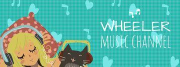 Girl and cat in headphones