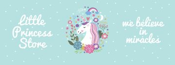 Kids' store ad Unicorn in flowers frame
