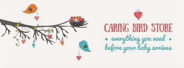 Birds decorating tree with hearts