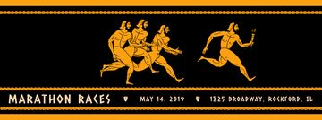 Marathon Race Announcement Runners in Ancient Style