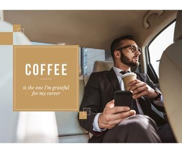 Businessman in Car with Coffee and smartphone