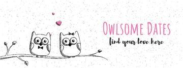 Owls in love sitting on branch