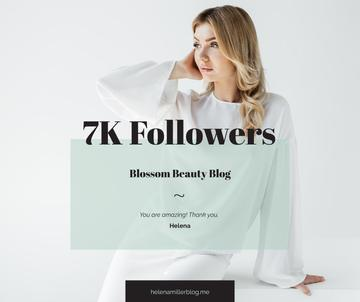 Beauty Blog Ad Attractive Woman in White